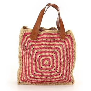 Woven Straw Tote Bag with Leather Straps